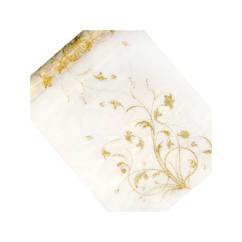 chemin de table baroque ivoire et or drag es anahita. Black Bedroom Furniture Sets. Home Design Ideas