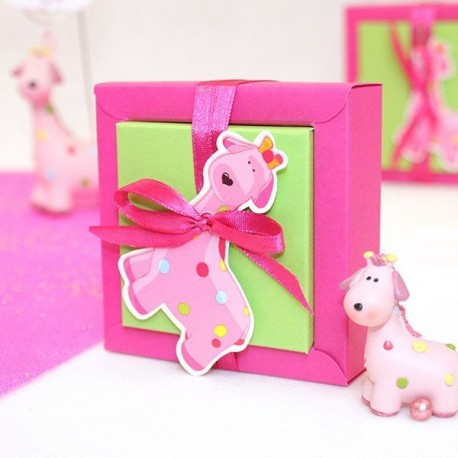Boite à dragées carré girafe rose