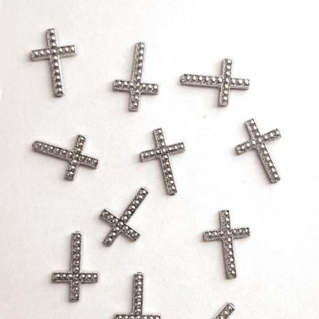 12 croix à coller argent