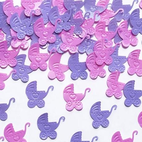 Confettis de table berceau rose et lilas