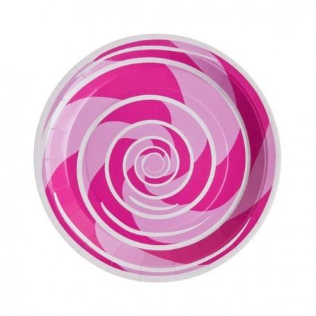 10 Assiettes Spirale en carton 23 cm