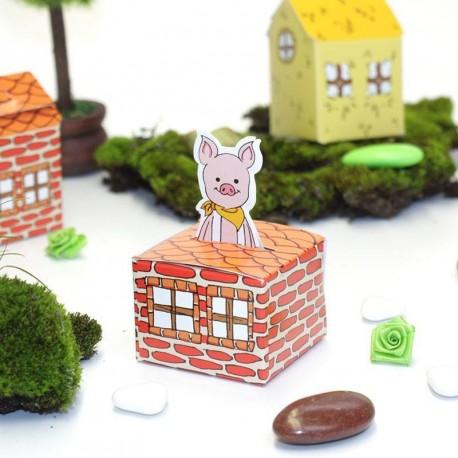 Boîte à dragées petit cochon en brique