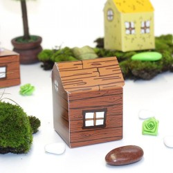 Contenant à dragées maison petit cochon en bois