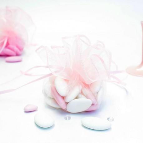 Tulle à dragées rose avec attache pas cher
