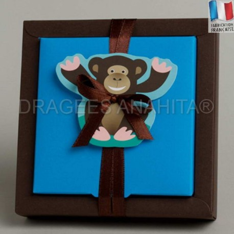 contenant à dragées  sur le thème du singe amusant