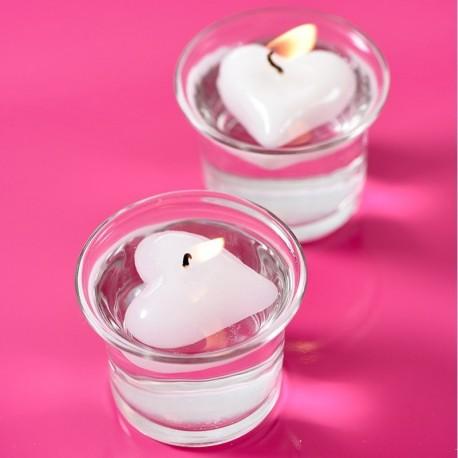 2 bougies flottantes cœur blanc