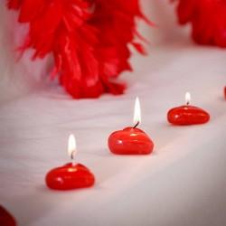 2 bougies cœur rouge