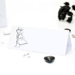 Carte de table thème couple enlacé blanc