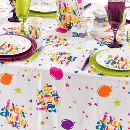 Nappe rectangulaire de table anniversaire multicolore