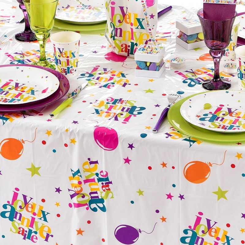 Nappe Rectangulaire Multicolore Anniversaire Dragees Anahita